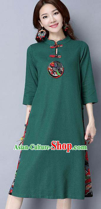 Traditional Ancient Chinese National Costume, Elegant Hanfu Mandarin Qipao Matching Color Green Dress, China Tang Suit Cheongsam Upper Outer Garment Elegant Dress Clothing for Women