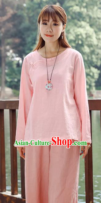 Traditional Chinese National Costume, Elegant Hanfu Linen Slant Opening Pink T-Shirt, China Tang Suit Plated Buttons Chirpaur Blouse Round Collar Cheong-sam Upper Outer Garment Qipao Shirts Clothing for Women