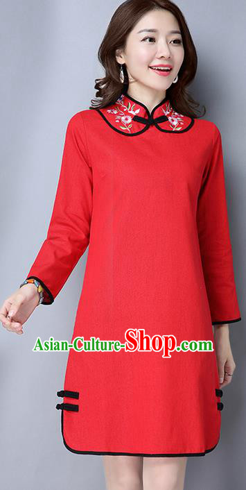 Traditional Ancient Chinese National Costume, Elegant Hanfu Mandarin Qipao Linen Stand Collar Red Dress, China Tang Suit Short Cheongsam Upper Outer Garment Elegant Dress Clothing for Women