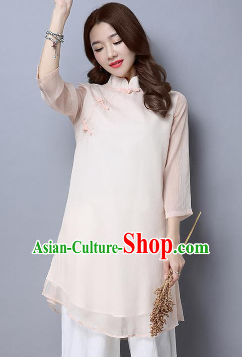 Traditional Chinese National Costume, Elegant Hanfu Slant Opening Pink T-Shirt, China Tang Suit Chirpaur Blouse Cheong-sam Upper Outer Garment Qipao Shirts Clothing for Women