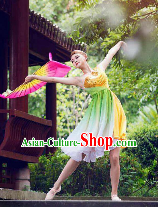 Traditional Chinese Modern Dancing Costume, Women Opening Classic Chorus Singing Group Latin Dance Paillette Costume, Modern Dance Dress for Women
