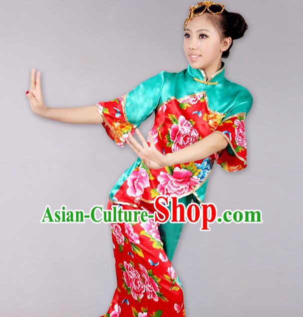 Traditional Chinese Yangge Fan Dancing Costume Complete Set, Folk Dance Yangko Costume Drum Dance Clothing for Women
