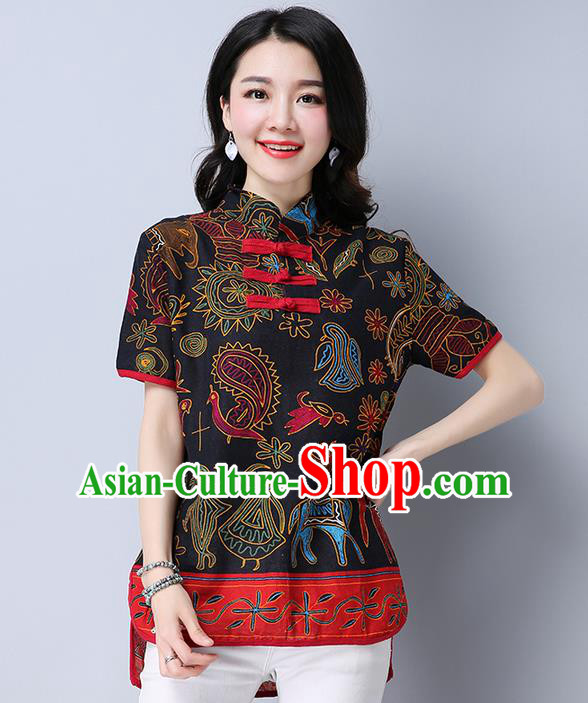 Traditional Chinese National Costume, Elegant Hanfu Printing T-Shirt, China Tang Suit Republic of China Plated Buttons Chirpaur Blouse Cheong-sam Upper Outer Garment Qipao Shirts Clothing for Women
