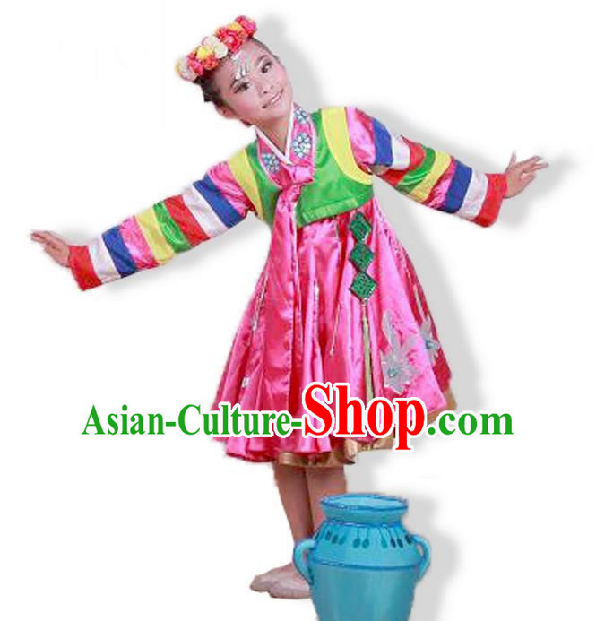 Traditional Chinese Ancient Korean Nationality Dancing Children Girls Costume Dance Clothing for Kids