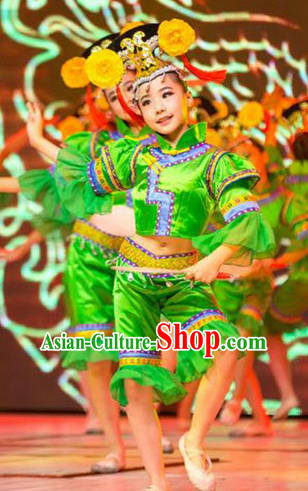 Traditional Chinese Yangge Fan Dancing Children Costume, Folk Dance Yangko Costume Lotus Dance Mandarin Sleeve Clothing for Kids