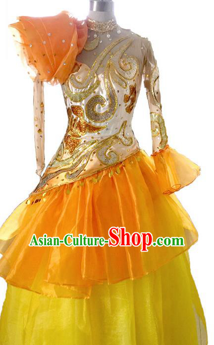 Traditional Chinese Modern Dancing Costume, Women Opening Classic Chorus Singing Group Dance Paillette Costume, Folk Dance Yangko Costume, Modern Dance Dress for Women