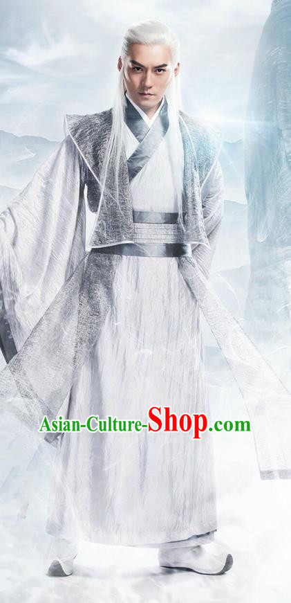 Traditional Ancient Chinese Elegant Swordsman Costume, Chinese Ancient Nobility Childe Dress, Cosplay Chinese Television Drama Flying Daggers Chivalrous Expert Hanfu Clothing for Men