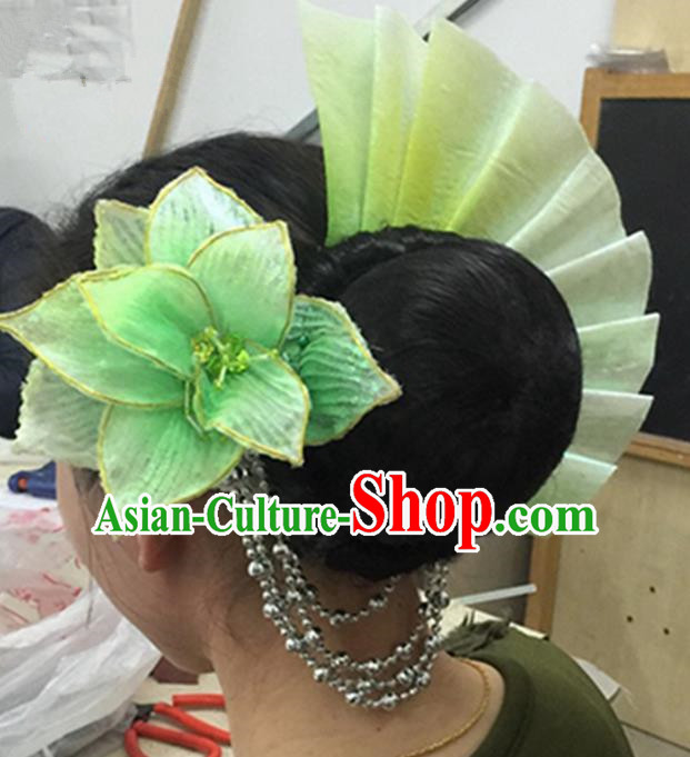 Traditional Ancient Chinese Classical Fan Dance Hair Accessories Props, Folk Yangko Dance Headwear Classical Dance Hair Ornaments for Women