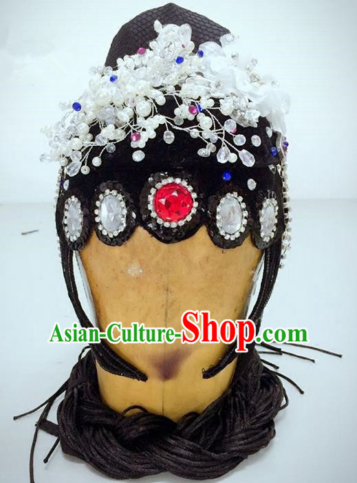 Traditional Ancient Chinese Classical Peking Opera Hair Accessories Props, Peking Opera Diva Headwear Classical Flying Dance Wigs and Hair Ornaments Complete Set for Women