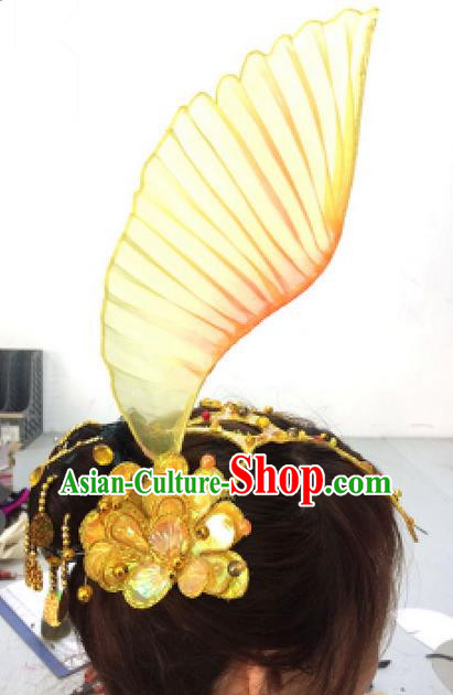 Traditional Ancient Chinese Classical Fish Dance Hair Accessories Props, Folk Yangko Dance Headwear Classical Dance Hair Ornaments for Women