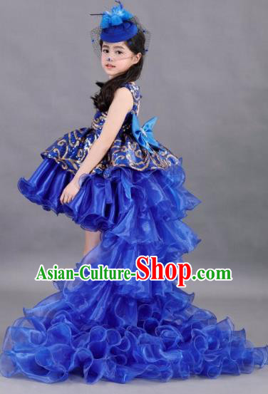 Traditional Chinese Modern Dancing Compere Costume, Children Opening Classic Chorus Singing Group Dance Paillette Uniforms, Modern Dance Classic Dance Blue Trailing Dress for Girls Kids