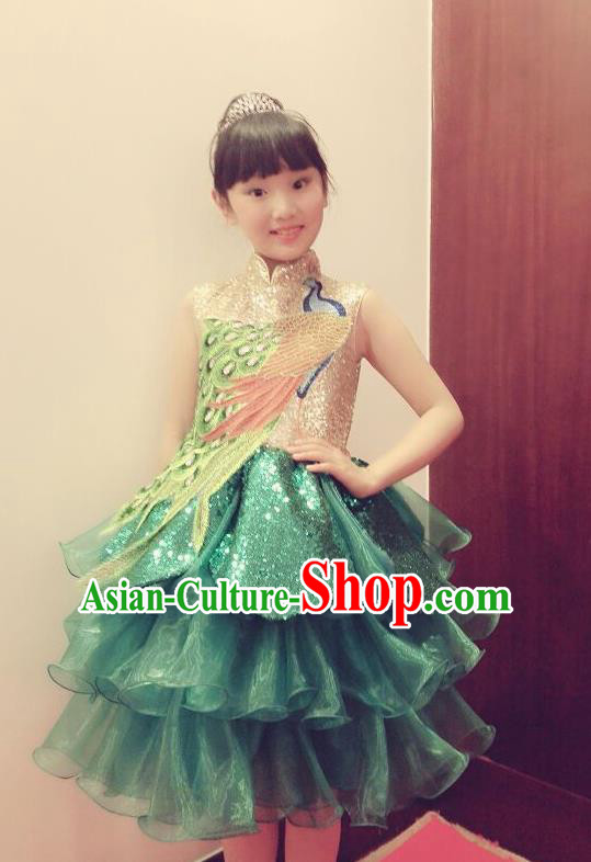 Traditional Chinese Modern Dancing Performance Costume, Children Opening Classic Chorus Singing Group Dance Phoenix Paillette Uniforms, Modern Dance Classic Dance Green Bubble Dress for Girls Kids