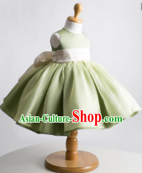 Traditional Chinese Modern Dancing Performance Costume, Children Opening Classic Chorus Singing Group Dance Evening Dress, Modern Dance Classic Dance Bubble Princess Green Dress for Girls Kids
