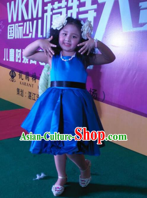 Traditional Chinese Modern Dancing Compere Performance Costume, Children Opening Classic Chorus Singing Group Dance Satin Dinner Dress, Modern Dance Classic Dance Blue Bubble Dress for Girls Kids