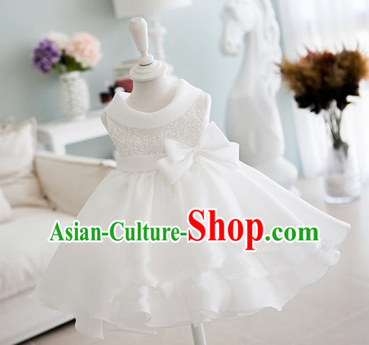 Traditional Chinese Modern Dancing Compere Performance Costume, Children Opening Classic Chorus Singing Group Dance Bowknot Dinner Dress, Modern Dance Classic Dance White Bubble Dress for Girls Kids