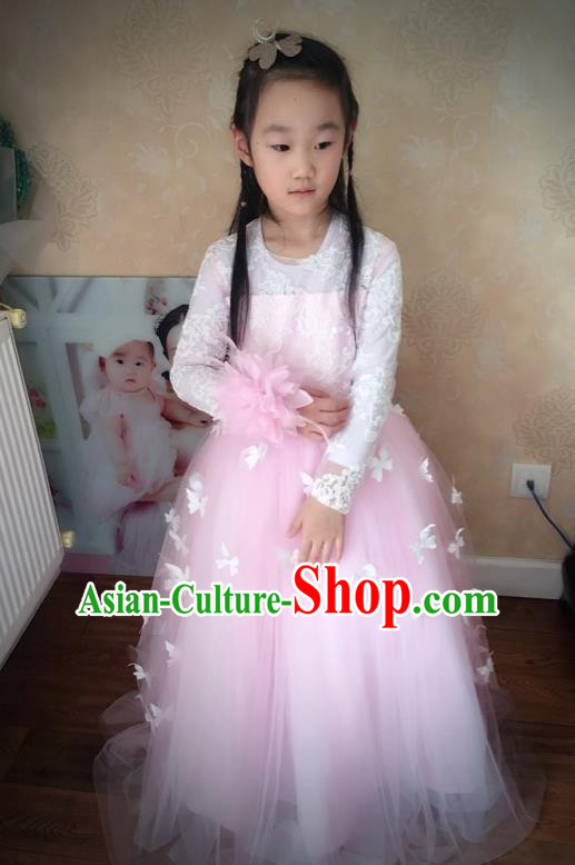 Traditional Chinese Modern Dancing Compere Performance Costume, Children Opening Classic Chorus Singing Group Dance Veil Evening Dress, Modern Dance Classic Dance Pink Trailing Dress for Girls Kids