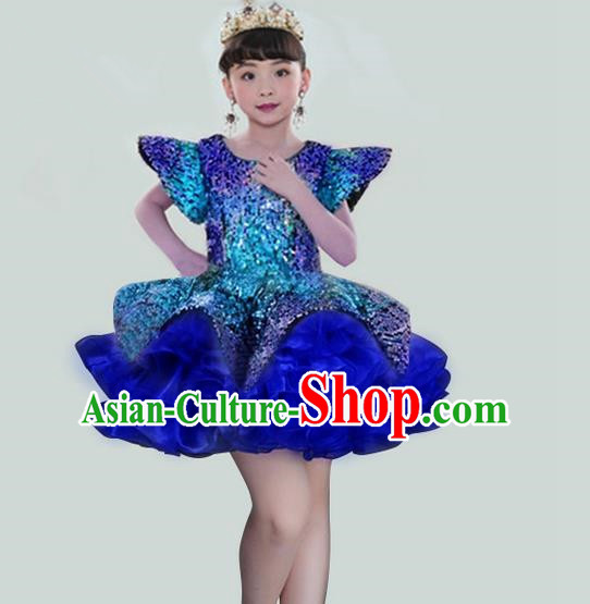 Traditional Chinese Modern Dancing Compere Performance Costume, Children Opening Classic Chorus Singing Group Dance Veil Evening Dress, Modern Dance Classic Dance Blue Bubble Dress for Girls Kids