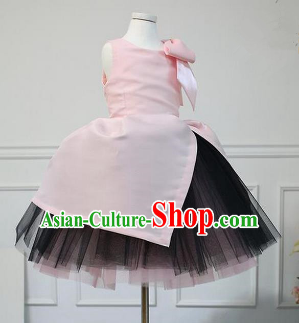 Traditional Chinese Modern Dancing Compere Performance Costume, Children Opening Classic Chorus Singing Group Dance Veil Evening Dress, Modern Dance Classic Dance Pink Bubble Dress for Girls Kids