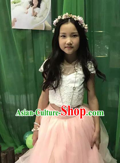 Traditional Chinese Modern Dancing Compere Performance Costume, Children Opening Classic Chorus Singing Group Dance Long Pink Veil Evening Dress, Modern Dance Classic Dance Bubble Dress for Girls Kids