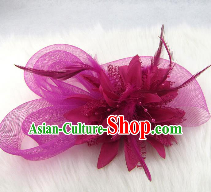 Top Grade Handmade Chinese Classical Hair Accessories, Children Baroque Style Purple Flowers Bobby Pin, Hair Sticks Hair Jewellery, Hair Clasp for Kids Girls