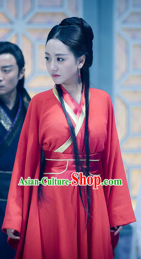 Traditional Ancient Chinese Swordswoman Elegant Costume, Chinese Ming Dynasty Chivalrous Heroine Red Wedding Dress, Cosplay Chinese Television Drama Flying Daggers Hanfu Clothing for Women