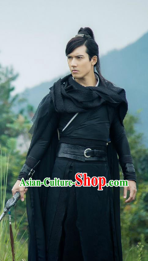 Traditional Ancient Chinese Elegant Swordsman Costume, Chinese Ancient General Cloak Dress, Cosplay Chinese Television Drama Flying Daggers Chivalrous Expert Chinese Ming Dynasty Kawaler Hanfu Clothing for Men