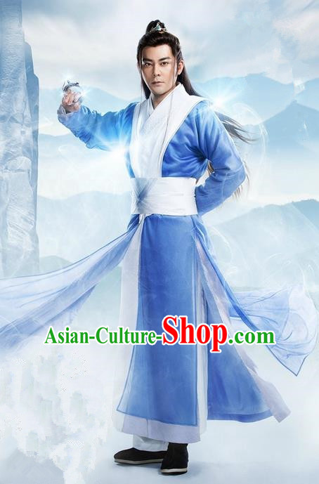 Traditional Ancient Chinese Elegant Swordsman Costume, Chinese Ancient Nobility Childe Dress, Cosplay Chinese Television Drama Flying Daggers Chivalrous Expert Chinese Ming Dynasty Kawaler Hanfu Clothing for Men