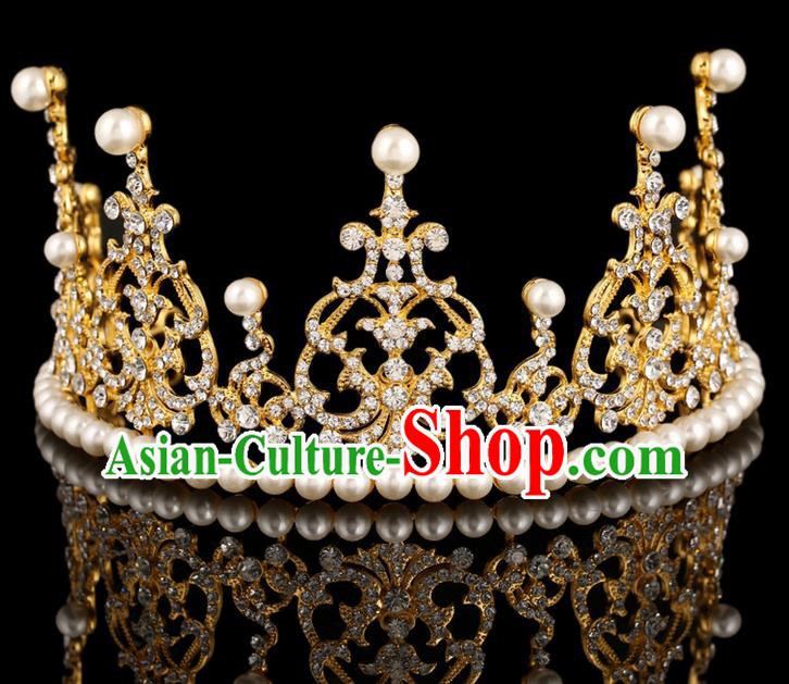 Top Grade Handmade Chinese Classical Hair Accessories, Children Baroque Style Headband Princess Royal Crown Crystal Crown, Hair Sticks Hair Jewellery, Hair Clasp for Kids Girls