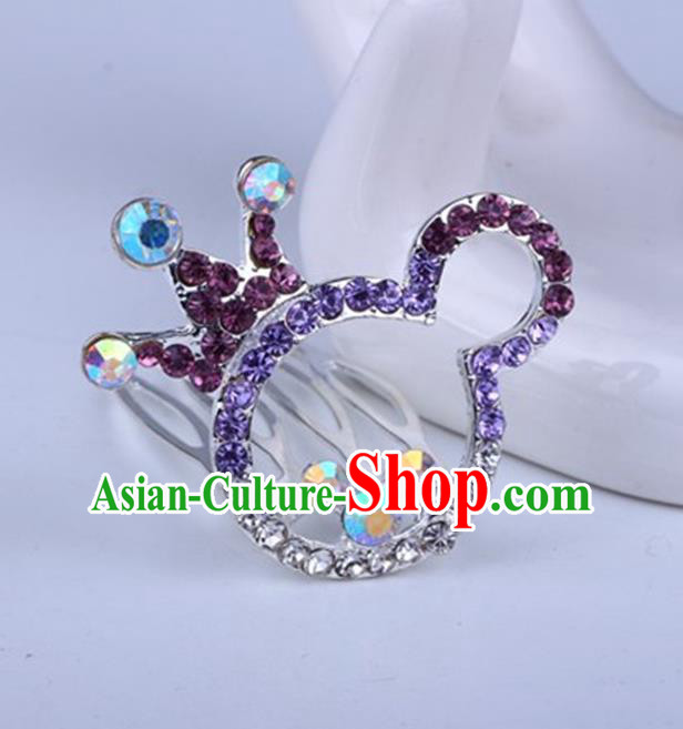 Top Grade Handmade Chinese Classical Hair Accessories, Children Baroque Style Headband Princess Purple Rhinestone Cute Royal Crown, Hair Sticks Hair Jewellery, Cartoon Hair Clasp for Kids Girls