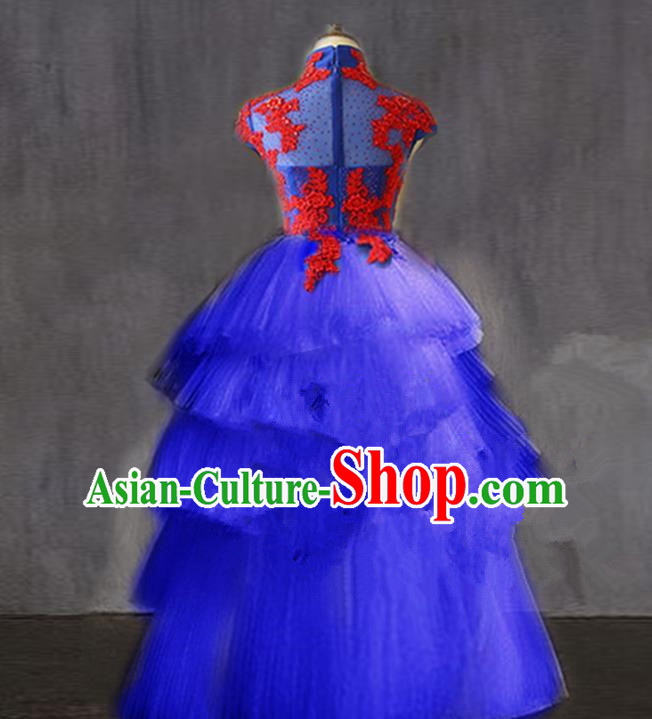 Traditional Chinese Modern Dancing Compere Performance Costume, Children Opening Classic Chorus Singing Group Dance Princess Long Trailing Full Dress, Modern Dance Halloween Party Dress for Girls Kids
