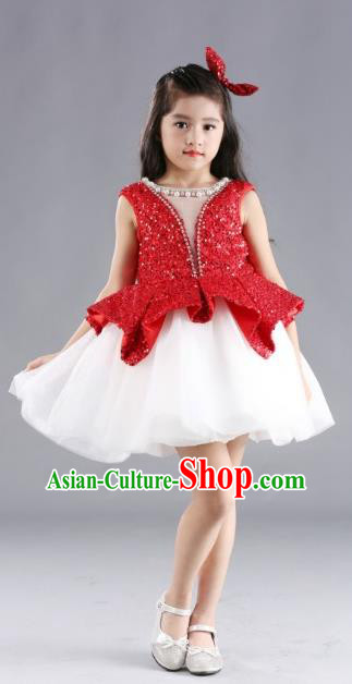 Traditional Chinese Modern Dancing Compere Costume, Children Opening Classic Chorus Singing Group Dance Red Paillette Full Dress, Modern Dance Classic Dance Bubble Dress for Girls Kids