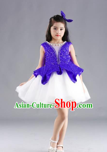 Traditional Chinese Modern Dancing Compere Costume, Children Opening Classic Chorus Singing Group Dance Blue Paillette Full Dress, Modern Dance Classic Dance Bubble Dress for Girls Kids