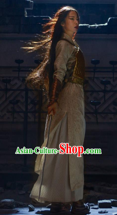 Traditional Ancient Chinese Elegant Female Swordsman Costume, Chinese Ancient Warrior General Corselet Dress, Cosplay Chinese Emprise Film Sword Master Chivalrous Expert Chinese Ming Dynasty Kawaler Hanfu Clothing for Women