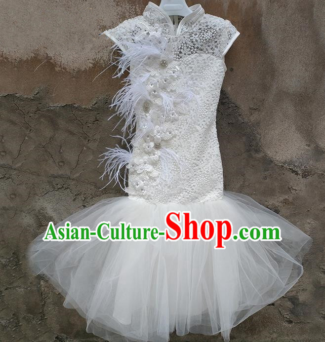 Traditional Chinese Modern Dancing Compere Costume, Children Opening Classic Chorus Singing Group Dance Princess Fishtail Full Dress, Modern Dance Classic Dance Bubble Dress for Girls Kids