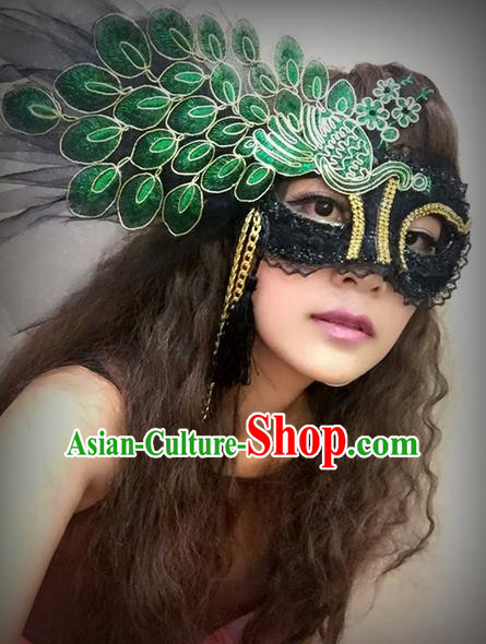 Top Grade Halloween Peacock Feather Green Mask for Girls Kids