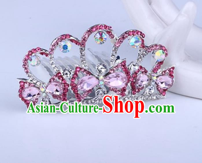 Top Grade Handmade Classical Swan Hair Accessories, Children Baroque Style Crystal Hairpins Rhinestone Princess Pink Royal Crown Hair Jewellery Hair Clasp for Kids Girls
