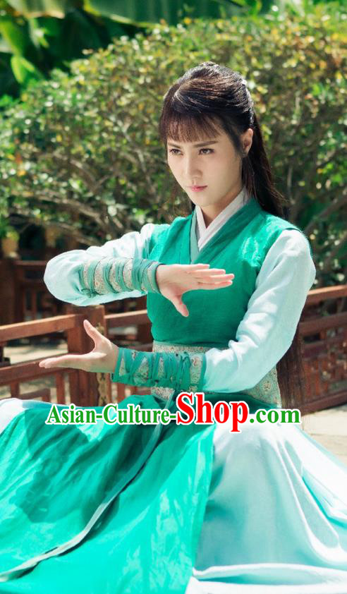 Traditional Ancient Chinese Elegant Swordsman Costume and Handmade Headpiece Complete Set, Chinese Television Drama Flying Daggers Jiang Hu Young Lady Dress Chinese Ming Dynasty Heroine Hanfu Clothing for Women