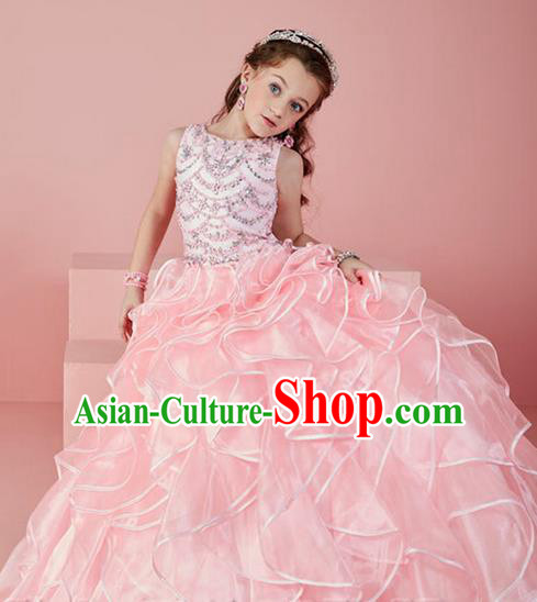 Top Grade Chinese Compere Professional Performance Catwalks Costume, Children Chorus Pink Crystal Big Swing Wedding Formal Dress Modern Dance Baby Princess Long Bubble Dress for Girls Kids