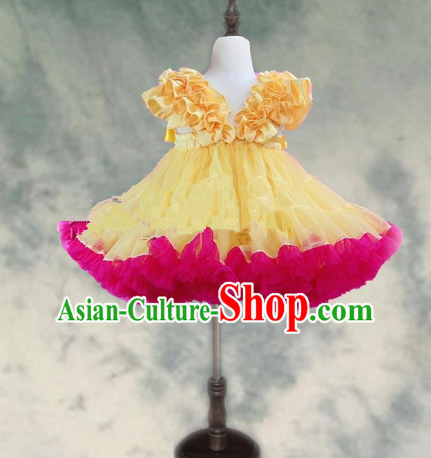 Top Grade Chinese Compere Professional Performance Catwalks Costume, Children Chorus Yellow and Pink Bubble Formal Dress Modern Dance Baby Princess Veil Short Dress for Girls Kids
