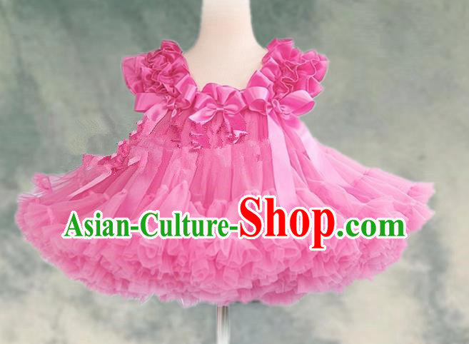 Top Grade Chinese Compere Professional Performance Catwalks Costume, Children Chorus Pink Bubble Formal Dress Modern Dance Baby Princess Veil Short Dress for Girls Kids