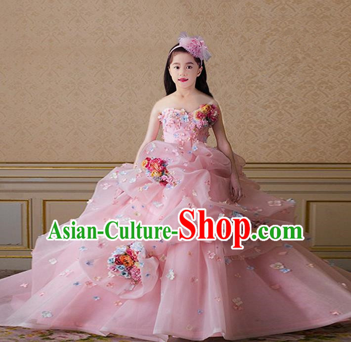 Top Grade Compere Professional Performance Catwalks Costume, Children Chorus Pink Flowers Multilayer Veil Bubble Formal Dress Modern Dance Baby Princess Big Swing Long Dress for Girls Kids