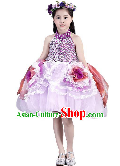 Top Grade Compere Professional Performance Catwalks Costume, Children Chorus Pink Flowers Wedding Formal Bubble Dress Modern Dance Baby Princess Short Ball Gown Dress for Girls Kids