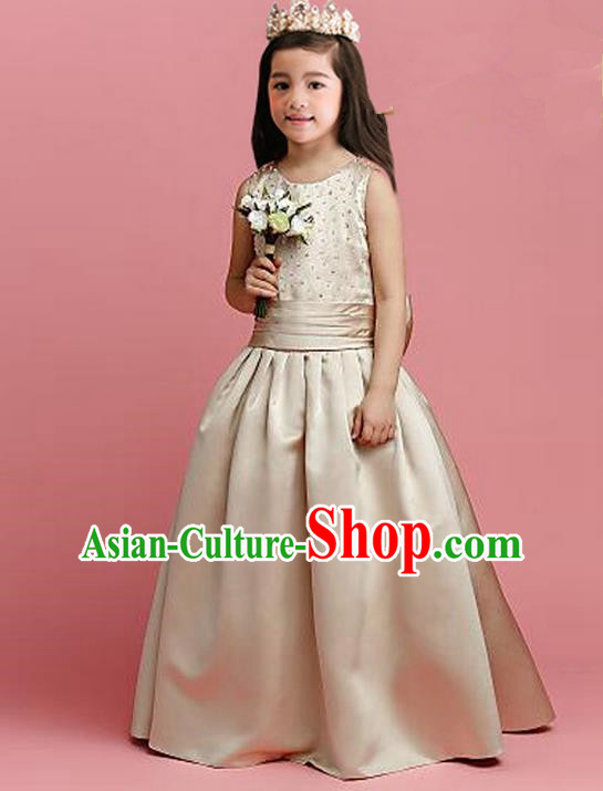 Top Grade Compere Professional Performance Catwalks Costume, Children Chorus Champagne Fairy Formal Dress Modern Dance Baby Princess Ball Gown Long Dress for Girls Kids
