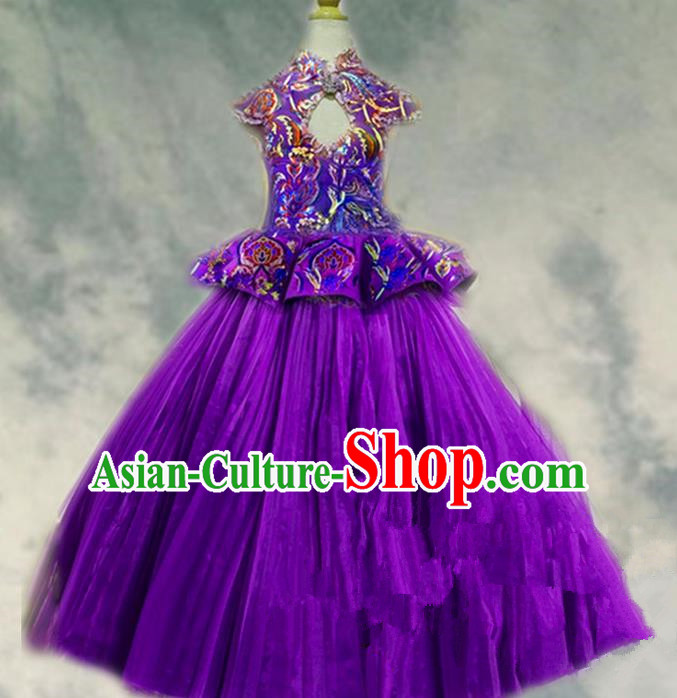 Top Grade Professional Compere Performance Catwalks Costume, Children Chorus Singing Group Purple Paillette Bubble Full Dress Modern Dance Ball Gown Long Dress for Girls Kids