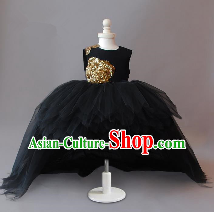 Top Grade Compere Professional Performance Catwalks Costume, Children Chorus Black Bubble Formal Dress Modern Dance Baby Princess Ball Gown Long Trailing Dress for Girls Kids