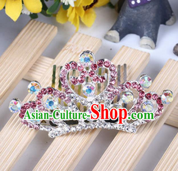 Top Grade Handmade Classical Hair Accessories, Children Baroque Style Pink Crystal Princess Royal Crown Hair Comb Jewellery for Kids Girls