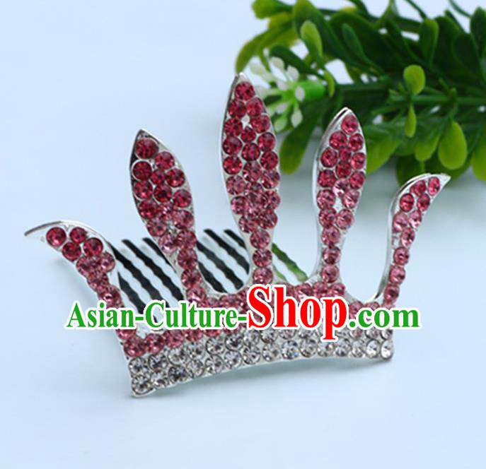 Top Grade Handmade Classical Hair Accessories, Children Baroque Style Pink Crystal Baby Princess Royal Crown Twist Inserted Comb Hair Comb Jewellery for Kids Girls