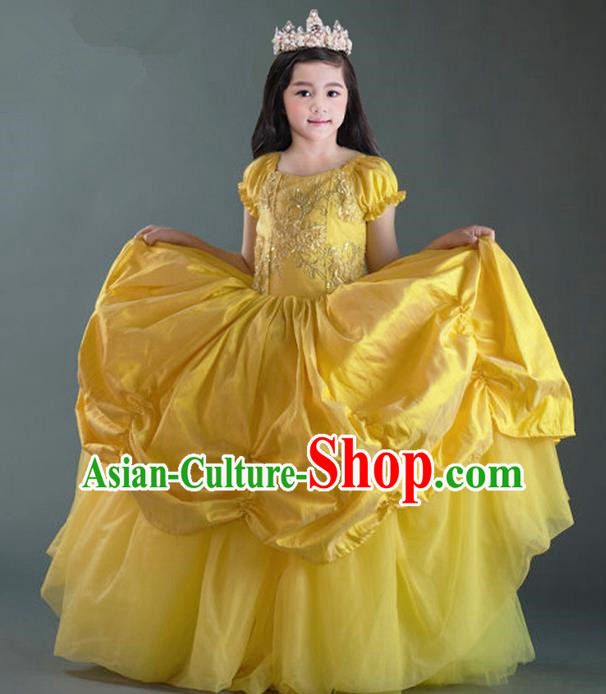 Top Grade Compere Professional Performance Catwalks Costume, Children Chorus Flower Fairy Yellow Wedding Veil Embroidery Formal Dress Modern Dance Baby Princess Ball Gown Long Trailing Dress for Girls Kids