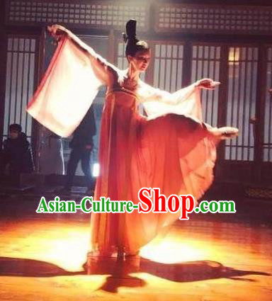 Traditional Ancient Chinese Palace Lady Dance Costume and Handmade Headpiece Complete Set, Chinese Television Concubine Meng Comes Across Princess Tang Dynasty Imperial Consort Clothing for Women