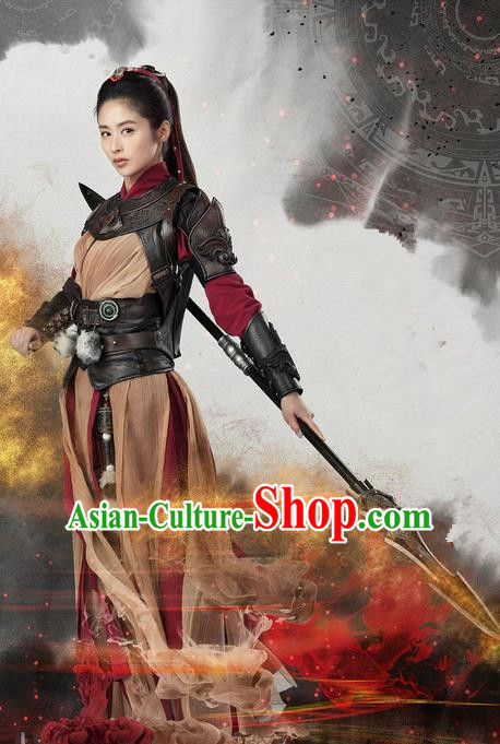 Traditional Ancient Chinese Swordswoman Armour Costume, Chinese Ming Dynasty Chivalrous Heroine Battle Suit, Cosplay Chinese Television Swords of Legends Hanfu Clothing for Women